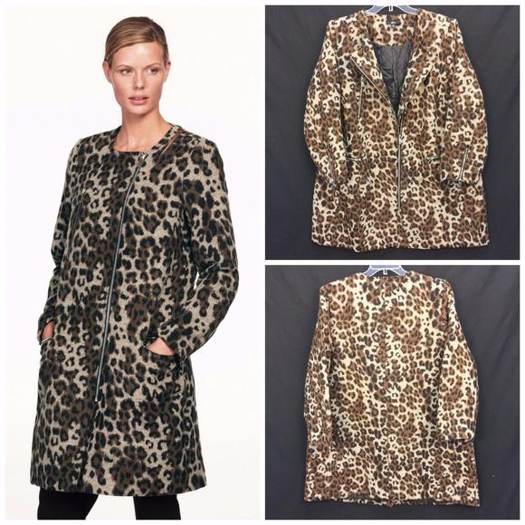 9e597f51226 NWT Ellos Plus Size Leopard Print Moto Coat Wool